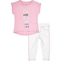 Mini girls pink love t-shirt leggings outfit