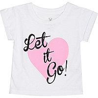 Mini girls white let it go t-shirt