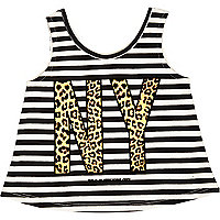 Mini girls white NY print vest top