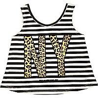 Mini girls white NY print vest top