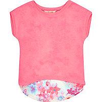 Mini girls pink floral back t-shirt