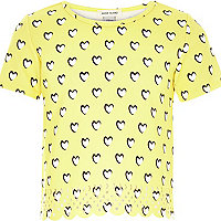 Girls yellow heart print laser cut t-shirt