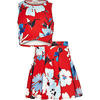Girls red floral print top and skirt outfit