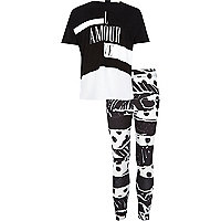 Girls black white t-shirt and leggings outfit