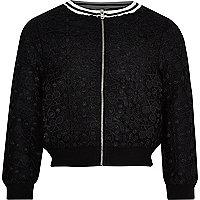 Girls black lace tipped bomber jacket