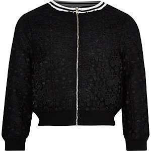 Girls black lace tipped bomber jacket