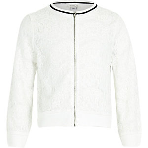 Girls white lace tipped bomber jacket