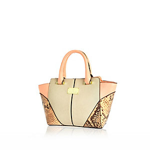 Girls orange winged snake print tote bag