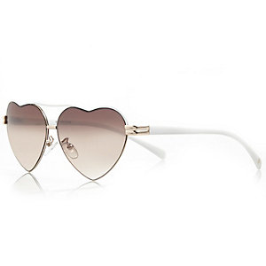 Girls white heart sunglasses