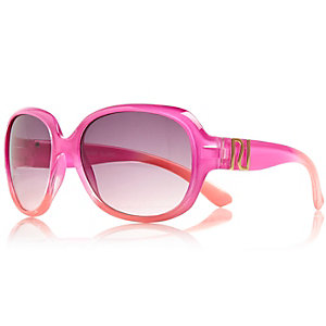 Girls pink oversized round sunglasses