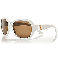 Girls white oversized round sunglasses