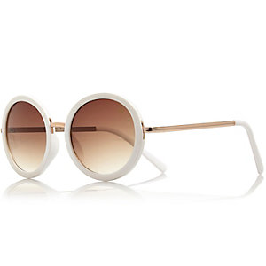 Girls white round retro sunglasses