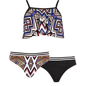 Girls black geo print frill 3 piece bikini