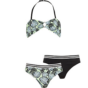 Girls green print 3 piece bikini set