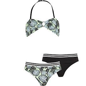 Girls green print 3 piece bikini set