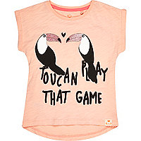 Mini girls pink toucan slogan print t-shirt