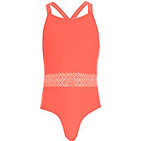 Girls pink crochet swimsuit