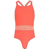 Girls pink crochet swimsuit