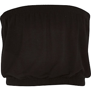 Girls black plain bandeau top