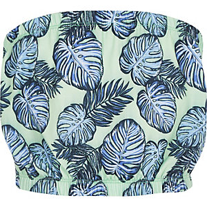 Girls green print bandeau top