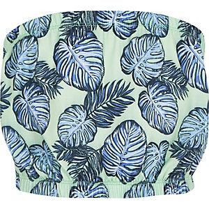 Girls green print bandeau top