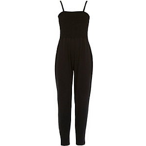 Girls black shirred top jumpsuit