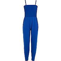 Girls blue shirred top jumpsuit