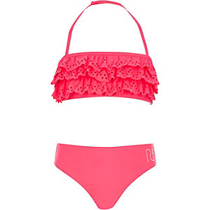 Girls pink laser cut frill bikini