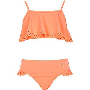 Girls coral laser cut frill bikini