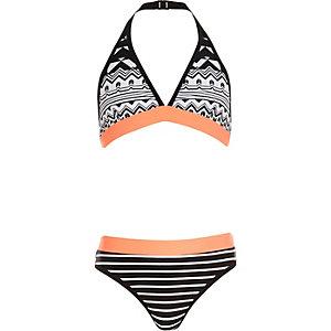 Girls black print bikini