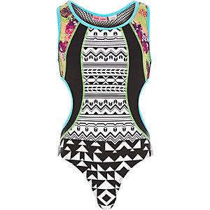 Girls black splice print cut out swimsuit