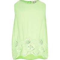 Girls lime embroidered hem tank top