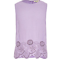 Girls purple embroidered hem tank top