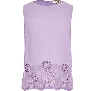 Girls purple embroidered hem tank top