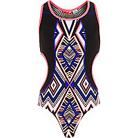 Girls black geo print cut out swimsuit