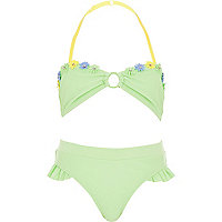 Girls green 3D flower bandeau bikini