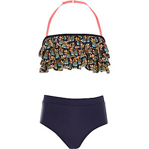 Girls navy pineapple print frill bikini
