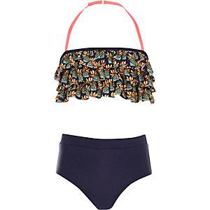 Girls navy pineapple print frill bikini