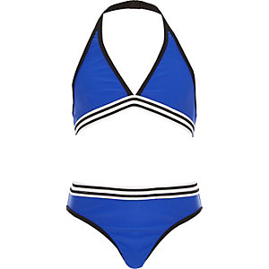 Girls blue triangle bikini set
