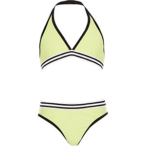 Girls green triangle bikini set