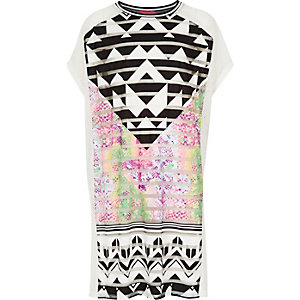 Girls white printed cover up dress
