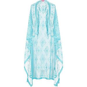 Girls aqua blue draped fringed kimono