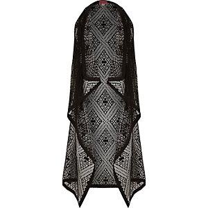 Girls black draped fringed kimono