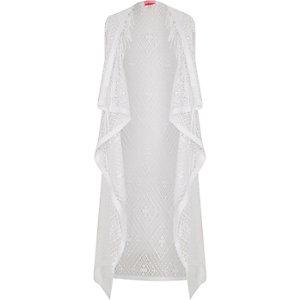 Girls white draped fringed kimono