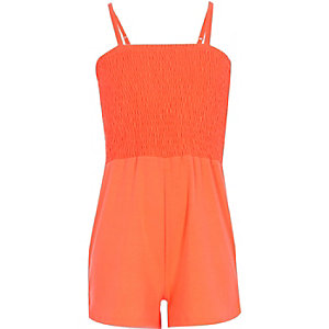 Girls coral shirred top playsuit