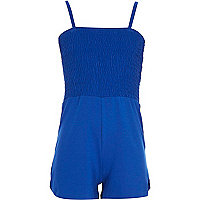 Girls blue shirred top playsuit