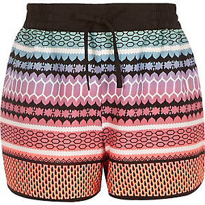 Girls black printed runner shorts