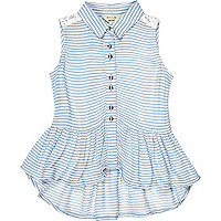 Mini girls blue stripe peplum top