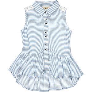 Mini girls blue stripe peplum top