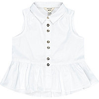 Mini girls white peplum top